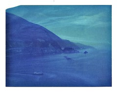 blue notes after the sunset (www.matteovarsi.com) Tags: blue sky italy cliff polaroid bay boat liguria pinhole cinqueterre pinholecamera monterosso seashore expiredfilm 669