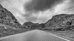 Noirway (jarnasen) Tags: road sky blackandwhite bw copyright mountain mountains monochrome berg norway clouds landscape mono fuji conversion noiretblanc outdoor scandinavia hdr harsh svartvit xt1 nordiclandscape noirway fujifilmxt1 xf1024mmf4 jarnasen jrnsen