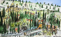 Ein Karem, Jerusalem, Israel - pen and watercolour sketch (novarex1) Tags: art drawing watercolour watercolor sketch urban sketching russian monastery church visitation ein karem jerusalem israel