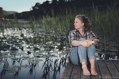Summernights (ErlandG) Tags: canoneos6d canonef50mmf14 colors dock nature pier portrait sitting summer water waterlillies woman