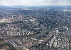 River Thames (peterphotographic) Tags: 20160725182414edwm riverthames apple iphone 6s peterhall london england uk britain aerial windowseat aeroplane aircraft britishairways view city cityscape urban londoneye shard