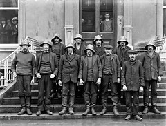 Unsung heroes!  Lifeboat men on land for once! (National Library of Ireland on The Commons) Tags: ahpoole arthurhenripoole poolecollection glassnegative nationallibraryofireland thecrewoffethardlifeboat rnli royalnationallifeboatinstitution steps recognition lifeboat crew souwester disaster fethardlifeboatdisaster fethard imperialhotel waterford mexico drowning