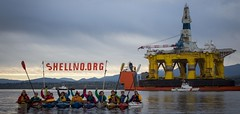 Arctic Destroyer Arrives in Port Angeles (Backbone Campaign) Tags: water kayak chaos no banner paddle shell save arctic rig oil campaign climate backbone shellno kayaktivists