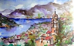 Kotor fiord (Laura Climent) Tags: marina landscape europe ciudad dibujo montenegro fiordo watercolorlauracliment acuarelalauracliment