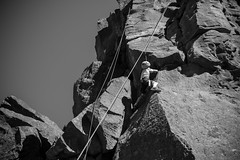 climbing Campbell (Ben McLeod) Tags: centraloregon blackwhite climbing campbell rockclimbing smithrock belay smithrockstatepark