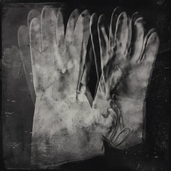 Dirty-4977 (Poetic Medium) Tags: blackandwhite stilllife square ipod hand rubber multipleexposure gloves mextures kitcamghostbird