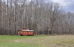 Hartstown, Pennsylvania (4 of 4) (Bob McGilvray Jr.) Tags: wood railroad red train wooden spring pennsylvania farm tracks caboose pa cupola treeline hartstown theloosecaboose