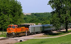 Holliday Varnish (Jeff Carlson_82) Tags: railroad train ks railway kansas holliday ge shawnee railfan bnsf mtbaker ocs burlingtonnorthernsantafe gevo 7093 businesscar businesstrain officecar topekasub officetrain