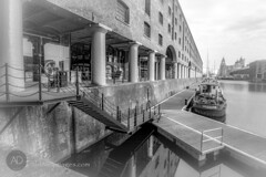 A portrait of Albert (alun.disley@ntlworld.com) Tags: blackandwhite tourism architecture liverpool docks boats mono cityscape transport industriallandscape merseyside rivermersey portsandharbours liverpoolwaterfront thealbertdock theroyalliverbuilding tokina1116mkll