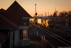 CSX Y221 in Marion, Ohio (Brandon Townley) Tags: railroad sunset ohio trains marion slug csx gp30 y221