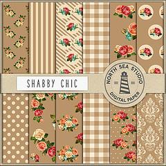 Shabby Chic Digital Paper (northseastudio) Tags: brown etsy paper shabby