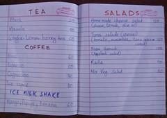 Menu (Sasha India) Tags: india coffee menu tea salads neilisland