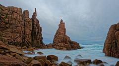 Rock sentinels (wingers5) Tags: cliffs clouds ocean rocks seascape water waves