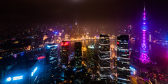 Shanghai Skyline (Mark Willard Photography) Tags: shanghai city night skyline cityscape pudong china chinese international resort nikon d810 uwa ultrawide angle river travel vacation holiday landscape long exposure architecture oriental pearl