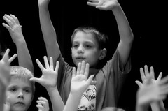2016-04-07 (164) Fred D ES 2nd grade show (How Does Your Garden Grow) evening (JLeeFleenor) Tags: photos photography virginia va leesburg loudouncounty frederickdouglass elementaryschool twins inside indoors youthactivities youth skit bw blackwhite monochrome