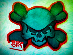 Hello - My Life is Sin (Steve Taylor (Photography)) Tags: art digital graffiti sticker streetart blue green black red white newzealand nz southisland texture nelson hello life sin skullandcrossbones skull