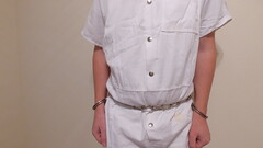 White Inmate Jumpsuit (boblaly) Tags: white inmate uniform belly chain jumpsuit prison prisoner detention arrested arrest handcuffs handcuffed restrained restraints padlock locked secure