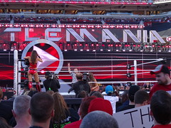 Ref holds up two fingers during Diva's match (Eric Broder Van Dyke) Tags: california two up during fingers match wwe holds divas ref 2015 wrestlmania
