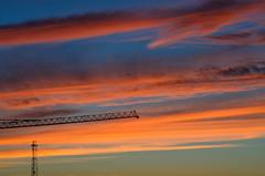 sunset (bat7000) Tags: blue sunset red sky paris france color lowlight dusk vivid hoist romainville arnaudvautrin