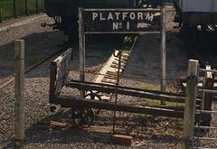 Platform No 1 (Man with Red Eyes) Tags: old colour sign digital 1 platform railway number m8 peelingpaint coleford forestofdean sunnysixteen leicam8 incamerajpeg 28mmf2summicronmasph