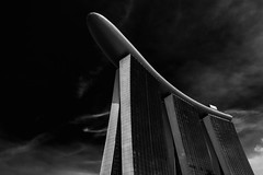 MBS (Katherine Young) Tags: city travel sky black clouds marina hotel bay nikon singapore asia cityscape fineart wideangle sands bnw mbs d800 1635mm