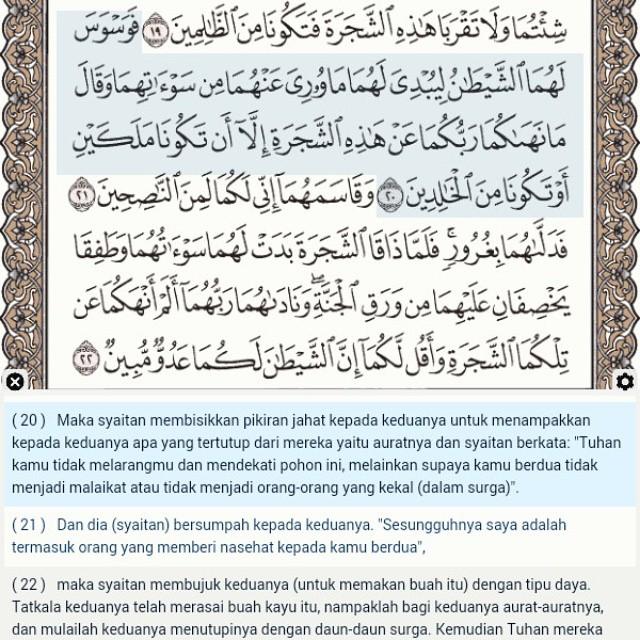 Jalan waswas syaithan yg pertama sejak dikutuk adalah agar Adam dan Hawa mendurhakai Allah, memakan buah pohon terlarang dan berakibat langsung tertampaknya AURAT. (baca QS. Al-Araf: 20-22) #Quran #verseoftheday #ayathariini #hijab #khimar