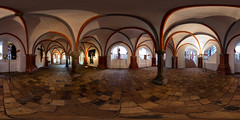 Krypta im Brandenburger Dom (360 x 180) (diwan) Tags: light panorama church architecture canon germany geotagged deutschland eos view stitch interior indoor fisheye romanesque crypt brandenburg panoramix 360 2016 gewlbe ptgui romanik equirectangular bundesland krypta backsteingotik stpeterundpaul brandenburganderhavel brickgothic circularpatternrectified canoneos650d spivpano walimexprofisheye835 brandenburgerdom dominselbrandenburg geo:lon=12567734 geo:lat=52415343