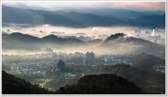 sunup (canon-Tom) Tags: city morning light sunset sky cloud sun sunlight mountain nature fog sunrise canon landscape dawn taiwan taipei daybreak