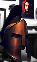 A Knights lady . (JAMES @ studio 136) Tags: red art vintage roman helmet picture brass