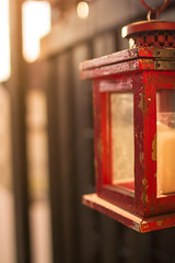 Moments like this... (thethomsn) Tags: light red sunlight backlight vintage living wooden focus candle balcony decoration sigma depthoffield used lantern moment flaking shabbychic thethomsn