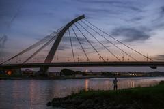 () Tags: bridge sky people night river alone taiwan taipei