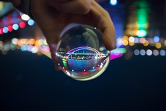 Different perspectives @ vivid. Follow me on Instagram: @nettletonphoto  (alexnettleton93) Tags: bridge colour night canon lights aperture nikon flickr bokeh sydney vivid professional amateur flipped austrlia crystalball glassball vividsydney