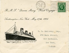 Maiden Voyage of the RMS Queen Mary - carried cover (kitmasterbloke) Tags: newyork queenmary cover postal southampton cunard philatelic