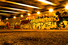 under the bridge (ppel) Tags: bridge night germany lights graffiti nikon europe outdoor land nrw 1855mm nikkor wuppertal bergisches d3200 nordbahntrasse