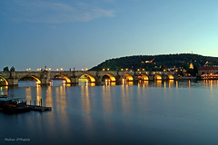 Charles Bridge (Darea62) Tags: charles bridge prague river streetlights star longexposure vltava bluehour hill eiffel tower
