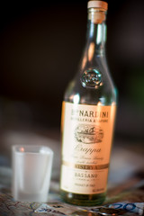 Whoa,.., Too Much Grappa! (Fret Spider) Tags: drink alcohol moonshine grappa grape brandy bokeh bokehdelicious manual dof depthoffield italy doubledistilled liquor distill ferment bottle outoffocus oof map siena tuscany toscano euro coin glass shot sonya7rii leicanoctiluxm50mmf095asph voigtlander closefocus drunk inebriation blur sway balance mirrorless rangefinder wideopen