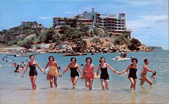 Swimming At Caleta Beach, Mexico (SwellMap) Tags: architecture vintage advertising design pc 60s fifties postcard suburbia style kitsch retro nostalgia chrome americana 50s roadside googie populuxe sixties babyboomer consumer coldwar midcentury spaceage atomicage