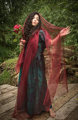 A little old fashioned but that's alright... (judi may) Tags: wood flowers trees red roses woman green beautiful beauty leaves fruit lady female feminine peach chiffon stole preraphaelite floaty richcolours canon7d