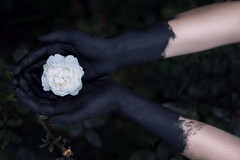 Guilt II (Celine Schuster) Tags: girl hands black colour conceptual emotion white innocent guilty guilt 50mm canon arms sad cold flower forest green conceptualphotography berlin series