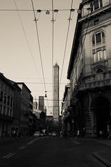 The tower and the wire (emiliano.galati) Tags: street summer italy tower canon wire italia estate postcard towers streetphotography wires bologna torri cartoline 2torri canon100d