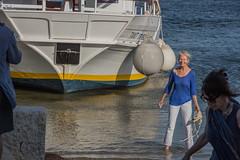 DSC_5877 (Pasquesius) Tags: sea ferry lady island boat barca mare lagoon tourist blonde sicily laguna saline sicilia saltponds isola turista traghetto marsala mozia bionda signora mothia stagnone motya riservanaturaledellostagnone