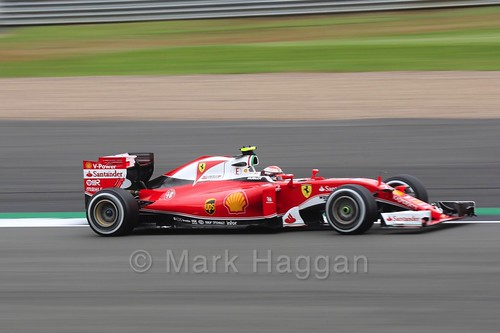 Kimi Raikkonen in his Ferrari in Free Practice 1 at the 2016 British Grand Prix