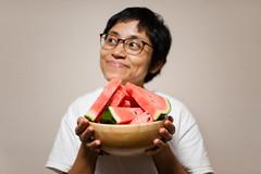 me/watermelon (Nazra Zahri) Tags: watermelon fruit holding asian malaysian woman portrait okayama japan 2016 summer raw