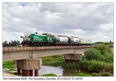 Herbicida en Ro Guadaira (japg) Tags: tractor tren puerto sevilla cordoba alfonsoxiii 310 006 contenedor mde guadaira cisterna riego 2015 ramal larinconada cisternas herbicida lasalud ptamo 310006