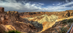 Panorama of Upheaval Dome (Impact Crater) in Canyonlands National Park (ScrAgnX) Tags: park travel vacation panorama clouds utah nationalpark ut rocks nps hiking canyon national crater impact canyonlands moab overlook stitched hdr upheaval scenicview upheavaldome impactcrater tonemapped