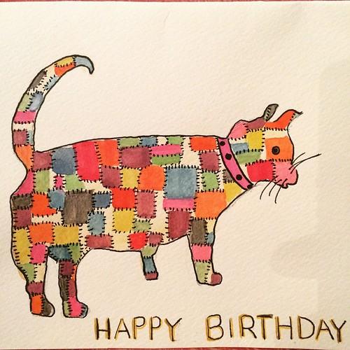 122/365 • just opened this card - drawn and painted by my very own mum 💗 • #122_2015 #happybirthdaytome #family #art #42 #tasmania2015 #mybirthdayjourney #mum #handmade #allthelove #miaow #cat