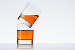 Two glasses on white background (Andrey Mikhaylov) Tags: stilllife white water glass advertising minimal clear product simple cognac liquid tabletop strobe lightsource backround productphotography speedlite strobist removedfromstrobistpool incompletestrobistinfo seerule2