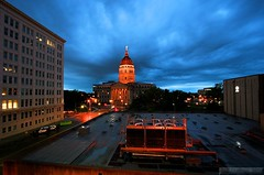Kansas Capitol & ATSF Office at Night (Jeff Carlson_82) Tags: nightphotography sky storm santafe building rain night clouds office downtown capital capitol dome bluehour topeka att landon atsf