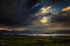 View from Duncryne Hill (GenerationX) Tags: sky sun mountains water alexandria clouds landscape evening scotland unitedkingdom dusk scottish neil fields rays loch drama trossachs balloch lochlomond barr luss duncryne bestview smallhill