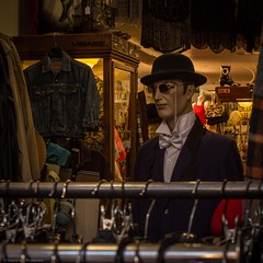 pre-loved (Graeme Perry) Tags: newzealand mannequin hat square clothing hand dressup bowtie used nz wellington second dummy monocle derby